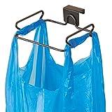 mDesign Built in Kitchen Bin - Hanging Cabinet Plastic Bag Holder & Integrated Kitchen Bin - Kitchen Accessories - In Cupboard Bin - Bronze