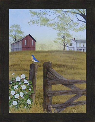 Home Cabin Décor Morning's Glory by Billy Jacobs 22x28 Bluebird Bird Fencepost Gate Barn Farm Flowers Framed Primitive Folk Art Print Picture