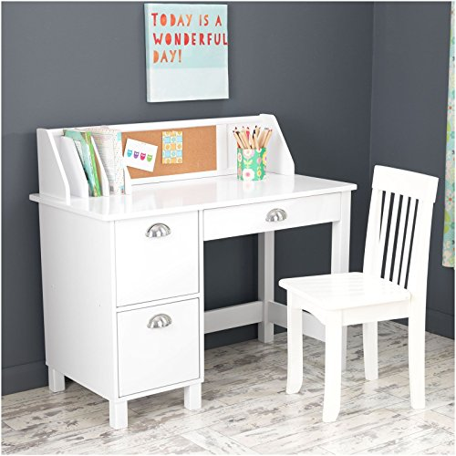 KidKraft Kids Study Desk with Chair-White by KidKraft (Image #1)