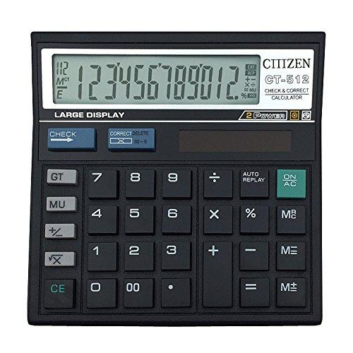 Black 12 digits Office calculator computer keys computer Solar Calculator CT-512 by Dishiko