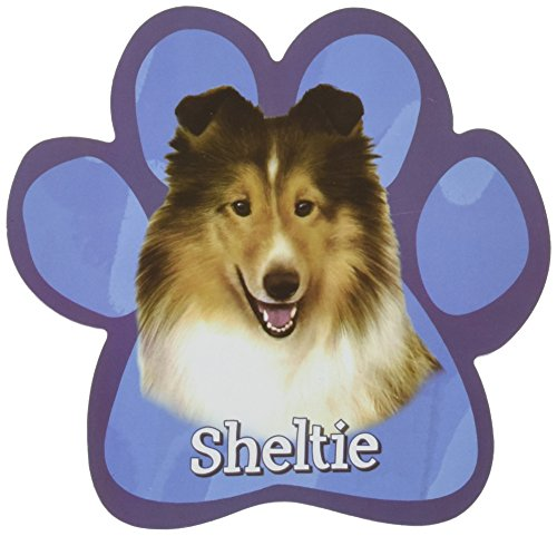 Sheltie Car Magnet With Unique Paw Shaped Design Measures 5.2 by 5.2 Inches Covered In UV Gloss For Weather Protection]()