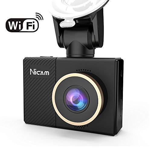 WiFi Dashboard Camera, 1080P Dash Cam Video Recorder with 2.45″ IPS Screen, 170° Wide Angle Dashcam with Night Vision, G-Sensor, Loop Recording, Motion Detection for Cars