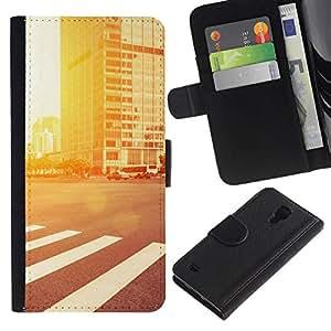 NEECELL GIFT forCITY // Billetera de cuero Caso Cubierta de protección Carcasa / Leather Wallet Case for Samsung Galaxy S4 IV I9500 // Resplandor de la calle