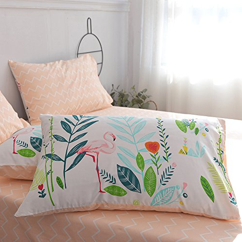 HIGHBUY Cotton Full Comforter Cover for Kids Girls White Peach Floral Flamingo Leave Printing Reversible Fresh Design Queen Bedding Sets for Children Boys with Chevron Stripe Pattern,Zipper Closure by HIGHBUY (Image #7)