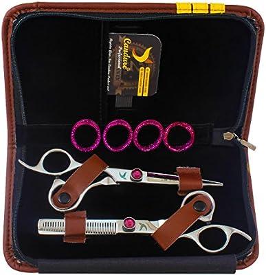 Tijeras de Peluquería Set - Tijeras de Barbero - Tijeras de Corte de pelo zurdos 15.24 cm + Estuche: Amazon.es: Belleza