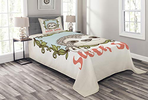Ambesonne Sloth Bedspread Set Twin Size, Exotic Animal in Floral Frame Sloth Smile Theme with Cute Mammal Portrait, Decorative Quilted 2 Piece Coverlet Set with Pillow Sham, Olive Green