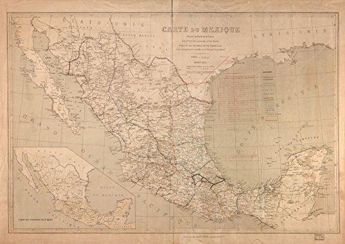 32 x 24 Reprinted Old Vintage Antique Map of: c.1881 Carte du Mexique m4209 by Vintography