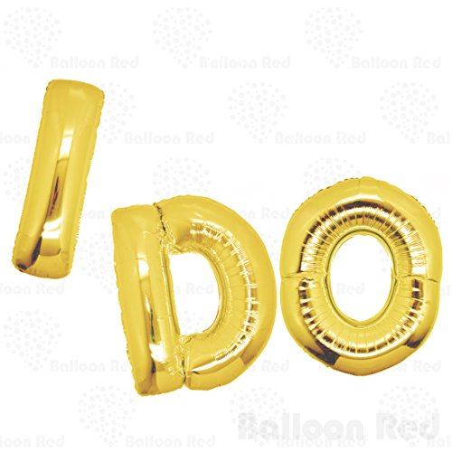 16 Inch Foil Mylar Balloons Bouquet for Wall Decoration (Premium Quality, Air-Fill Only), Glossy Gold, Letters I DO