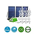 [30W Panel Foldable] MEIO Solar Panel Lighting Kit, Solar Home DC System Kit, USB Solar Charger with 4 LED Light Bulb as Emergency Light and 5 Mobile Phone Charger/5V 2A Output Can Charge Power Bank