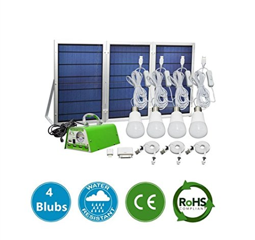 [30W Panel Foldable] MEIO Solar Panel Lighting Kit, Solar Home DC System Kit, USB Solar Charger with 4 LED Light Bulb as Emergency Light and 5 Mobile Phone Charger/5V 2A Output Can Charge Power Bank by MEIO