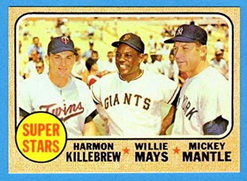 (Mickey Mantle, Willie Mays, Harmon Killebrew 1968 Topps (Super Stars) Baseball Reprint Card (Yankees) (Giants) (Twins))