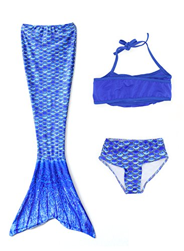 [Swimmable Mermaid Tail Costume Swimsuit for Girls Swimming with Bathing Bikini Set(No monofin) Blue] (Kiddie Costume For Sale)