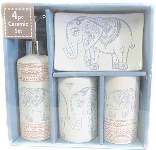 DINY Home & Style Designer 4-Piece Ceramic Bath Accessory Set | Includes Liquid Soap or Lotion Dispenser w/Toothbrush Holder, Tumbler, Soap Dish (Elephant) by DINY Home & Style