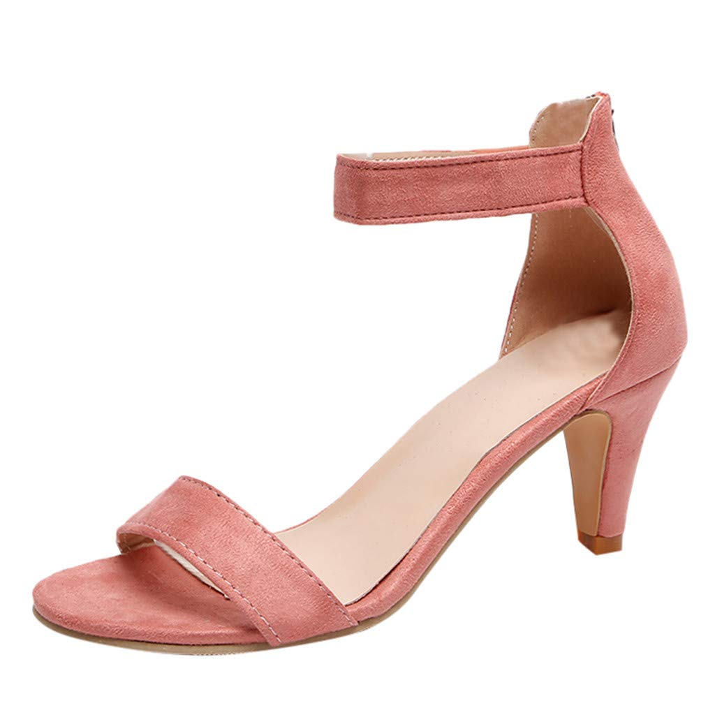 Seaintheson Women's Fish Mouth Zipper Sandals Summer Ankle High Heels Party Open Toe Shoes Pink