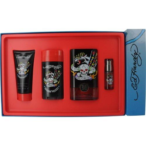 Ed Hardy Born Wild for Men 4 Piece Set Includes: 3.4 oz Eau de Toilette Spray + 0.25 oz Eau de Toilette Travel Spray + 3.0 oz Hair & Body Wash + 2.75 oz Christian Audigier