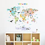 Decowall DMT-1615S Animal World Map Peel and Stick Nursery Kids Wall Decals Stickers (Large)