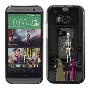 HTC One M8 - Metal de aluminio y de plástico duro Caja del teléfono - Negro - Halloween Skeleton