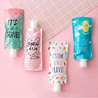 Hoocozi 4Pcs Space-Saving Travel Bottles Set, Leakproof Refillable Empty Containers, Squeezable Travel Bags Sets Cosmetic Toiletry Holders for Shampoo Lotion Soap(3.25 FL OZ)