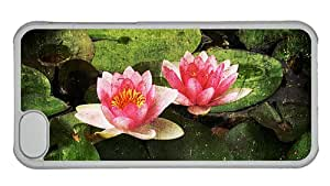Cheap iphone 5C cassette covers Water lily flower pattern PC Transparent for Apple iPhone 5C