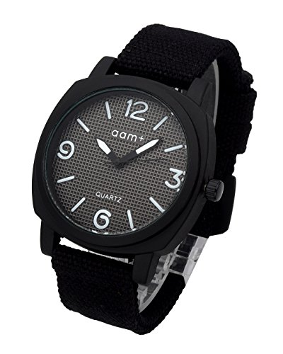 Top Plaza Men's Women's Simple Casual Analog Quartz Wrist Watch Canvas Strap Square Black Case Sport Watches 30M Waterproof - ()