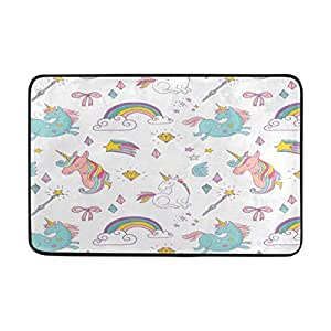 LORVIES Hand Drawn Unicorn Pattern Doormat, Entry Way Indoor Outdoor Door Rug with Non Slip Backing, (23.6 by 15.7-Inch)