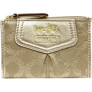 Authentic Coach Mini - New Authentic Coach Madison Op Art Lurex Signature Mini Skinny Wallet (Khaki/Gold)