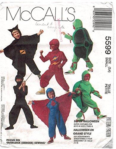 Mccalls 5599 Sewing Pattern for Halloween Costumes Bat Ninja Turtle Comic Super Hero Boy 2 3 4 5 6 7 8