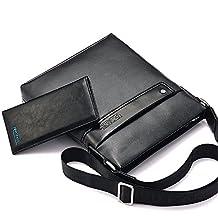 Ranbow PVC Shoulder Bag Splicing Men's Messenger Ipad Handbag Portfolio Briefcase Slim Case Casual Business Bag with Wallet