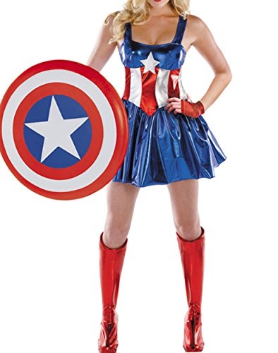 XSHUN Women Halloween Costumes Superwoman Costumes Cosplay Captain America (M)