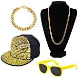 80s 90s Hip Hop Rap Star Adult Costume Set Packet of 4 (Yellow)