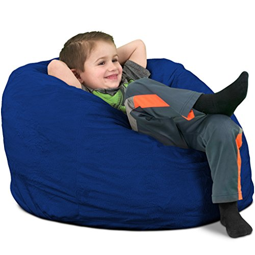 - ULTIMATE SACK Kids Sack Bean Bag Chair: Giant Foam-Filled Furniture - Machine Washable Covers, Double Stitched Seams, Durable Inner Liner, and 100% Virgin Foam. Kids Bean Bag. (Electric Blue, Suede)