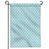 Mikihome Patriotic Garden Flag,Double-Sided, Polka Dots Button Like Figures Simple Repetitive Design Retro Style Light Blue White Yard Flag to Brighten up Your Home