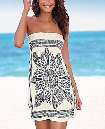 Costume Senza Delle Da Stampa Floreale Dalla Coprire Della Boemia Spalline Del Spiaggia Bagno Donne Bianco Amstt ggwfYq