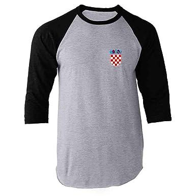 5f36aef5b Amazon.com  Croatia Soccer Retro National Team Sport Football Raglan  Baseball Tee Shirt  Clothing