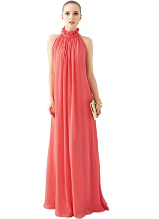 Coral Maxi Dress Beach Wedding