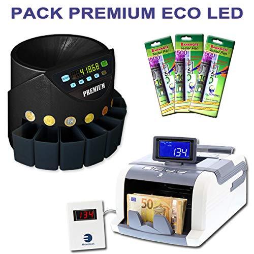 Ofertas especiales: Pack Integral (- Contador de billetes + de monedas + 3 rotuladores detectores de billetes falsos), color 350BD / 1188 / Feutres: ...