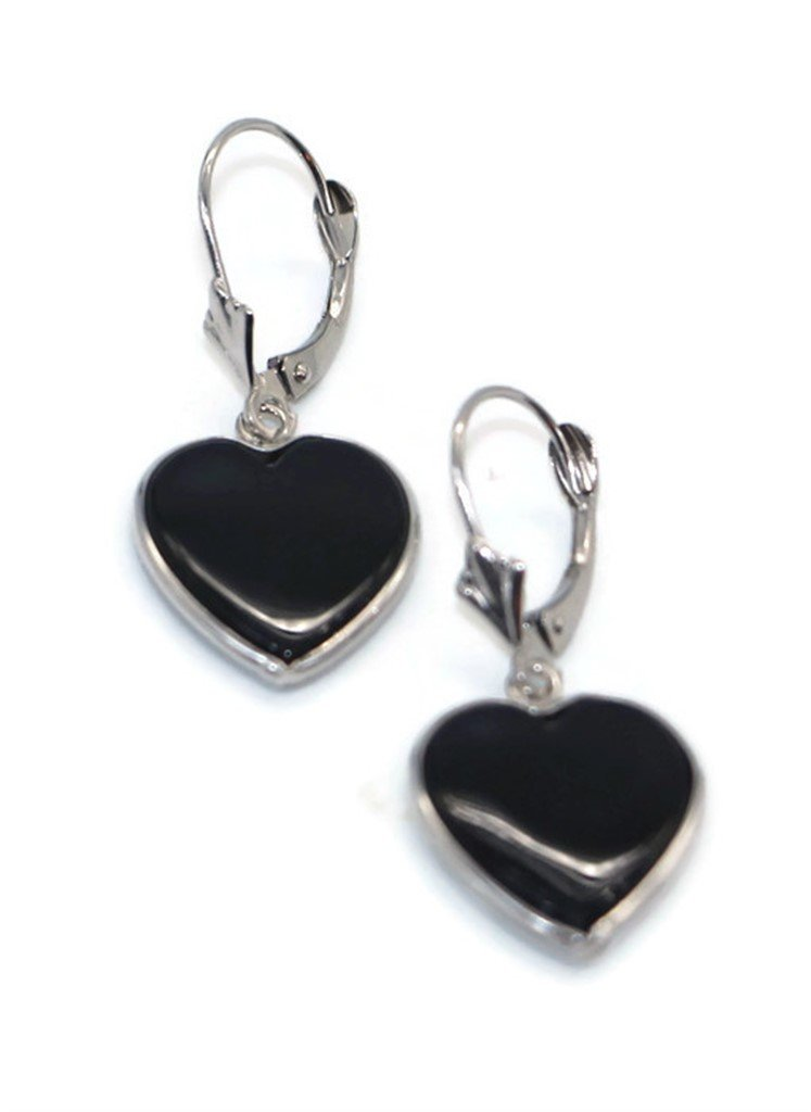 Onyx Black Heart Earrings set in 14K White Gold,Leverbacks by Sophia Fine Jewelry (Image #2)