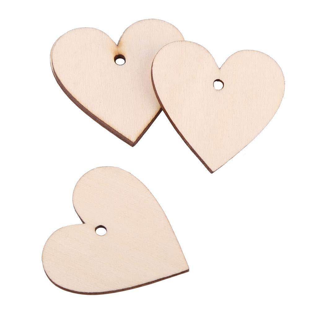 Forme de Coeurs en Bois Naturel D/écoupage Naturel Amour Tranche 3mm avec Seul Trou pour la D/écoration de Mariage Artisanat DIY 40mm 25pcs