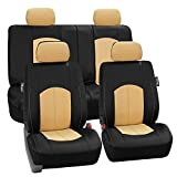 FH Group FH-PU008114 Perforated Leatherette Full Set Car Seat Covers, (Airbag & Split Ready), Beige/Black Color- Fit Most Car, Truck, SUV, Or Van