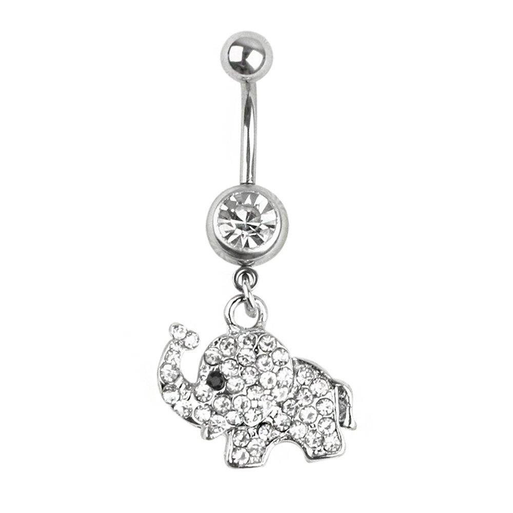 BODYA Steel Paved clear CZ Rhinestone gems Elephant Dangle Navel Belly Button Rings Bar+belly Retainer JW1090
