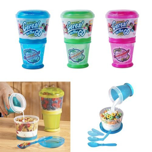 Ez Freeze Food (1 X Cereal On The Go Cup EZ Freeze Gel Travel Food Storage Snack Container Keeper !!)