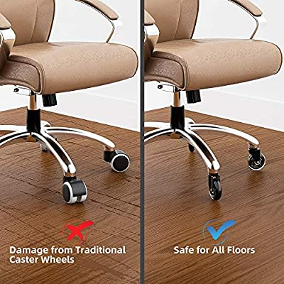 Transparent Castor Wheels All Floors Protect Salon Home Office Chair Separately Replacement Castors 1.5 No Brake