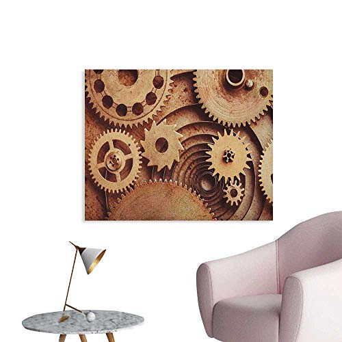 Anzhutwelve Industrial Art Stickers Inside The Clocks Theme Gears Mechanical Copper Device in Steampunk Style Print The Office Poster Cinnamon W32 xL24