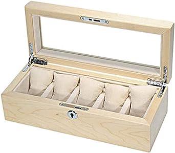Caja De Relojes - Madera Exhibición De Reloj Caja De Almacenamiento para 5 Relojes Organizador (Color : C): Amazon.es: Relojes