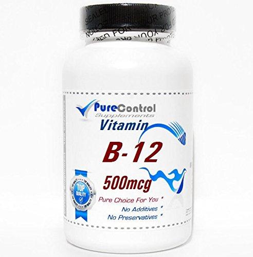 B-12 Vitamin 500mcg 100caps // 200 Capsules // Pure // by PureControl Supplements