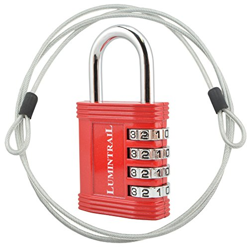 Lumintrail Combination Padlock w/ 4' Braided Steel Security Cable - 4 digit lock 1