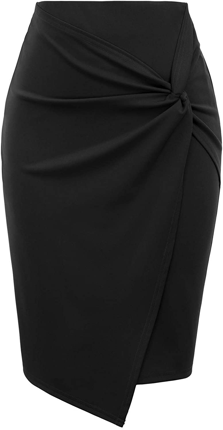 Kate Kasin Wear to Work Pencil Skirts for Women Elastic High Waist Wrap Front