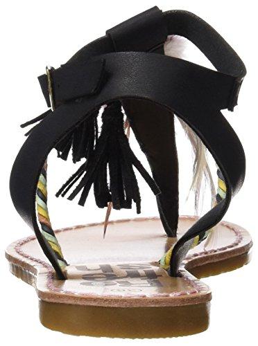 Refresh 063363, Sandalias con Punta Abierta para Mujer Negro (Black)