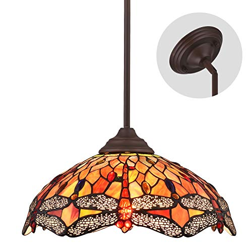ELUZE Tiffany Style Dragonfly 2-Light Pendant Lighting Vintage Ceiling Light Fixtures with 16 inch Stained Glass Shade ,Tiffany Multicolored Chandeliers for Kitchen Island Dining Room Bedroom Living (Lighting Kitchen Style Tiffany)