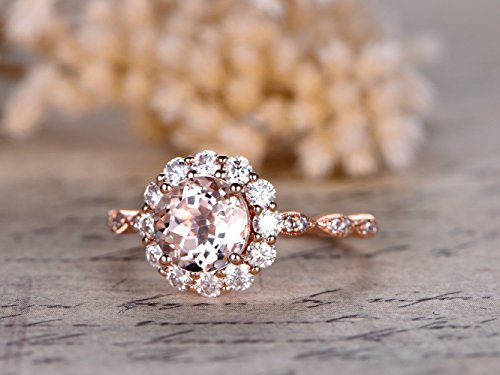 7mm Round Cut 1.5ctw VS Pink Morganite Solid 14k Rose Gold Classic Charles & Colvard Moissanite Halo Floral Art Deco Marquise Milgrain Diamond Engagement Ring Bridal Proposal Wedding Band